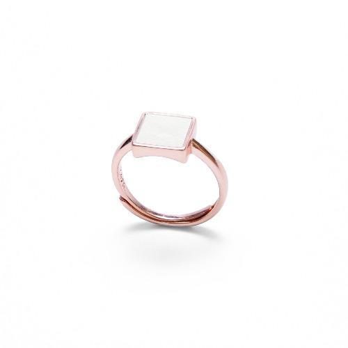 白水泥正方形銀指環/戒指(玫瑰金) - 幾何系列