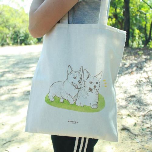 【動物系列】#2 柯基 哥基兄弟 帆布袋