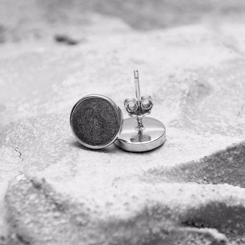 黑水泥圓形銀耳環(銀) - 幾何系列