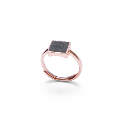 黑水泥正方形銀指環/戒指(玫瑰金) - 幾何系列