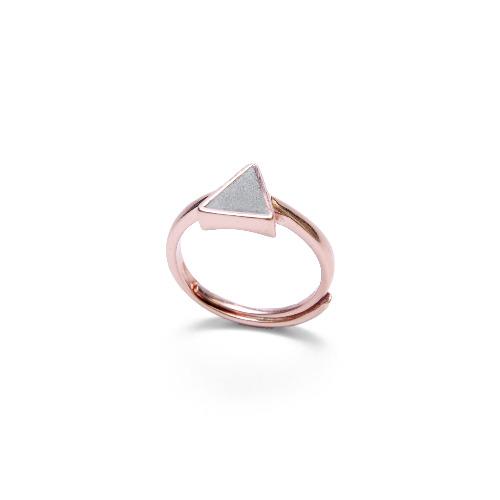 灰水泥三角形銀指環/戒指(玫瑰金) - 幾何系列