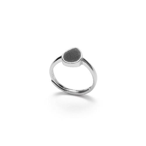 黑水泥水滴形銀指環/戒指(銀) - 幾何系列