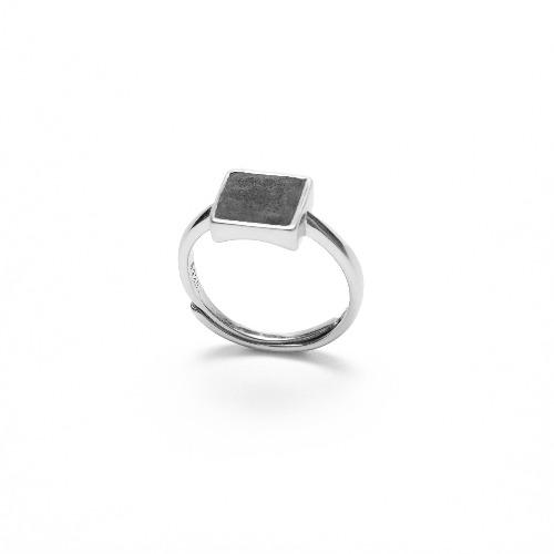 黑水泥正方形銀指環/戒指(銀) - 幾何系列
