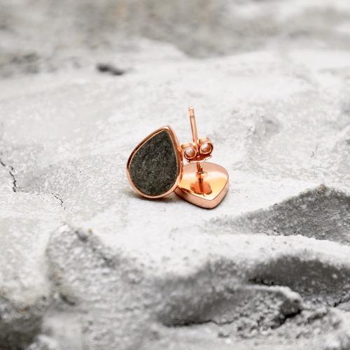 黑水泥水滴銀耳環(玫瑰金) - 幾何系列
