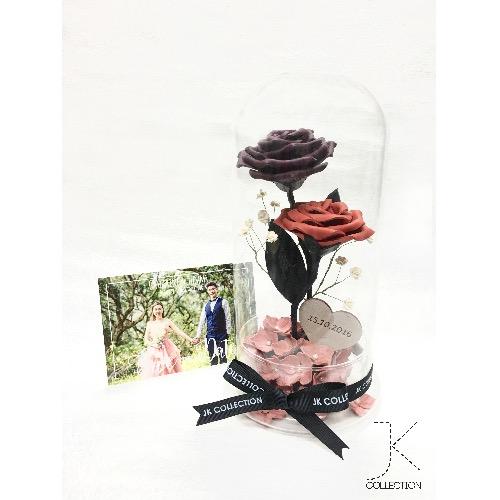 雙枝裝皮革玫瑰玻璃瓶