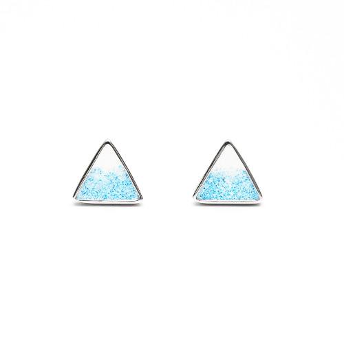 富士山水泥三角形銀耳環 - 幾何系列
