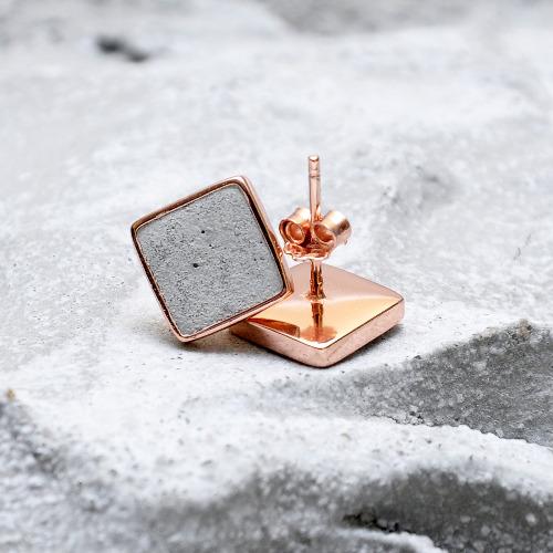 灰水泥正方形銀耳環(玫瑰金) - 幾何系列