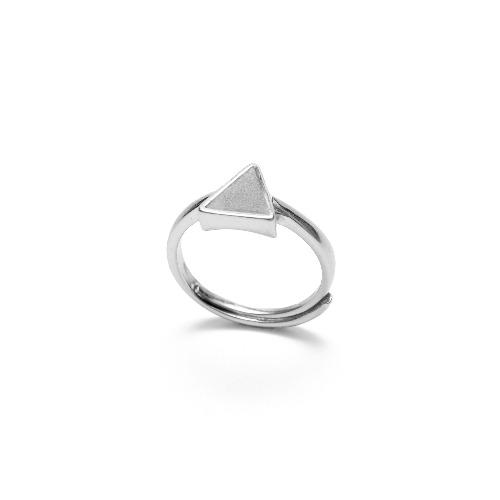 灰水泥三角形銀指環/戒指(銀) - 幾何系列