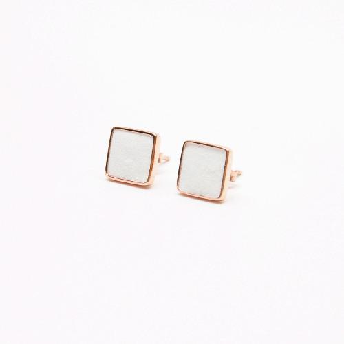 白水泥正方形銀耳環(玫瑰金) - 幾何系列