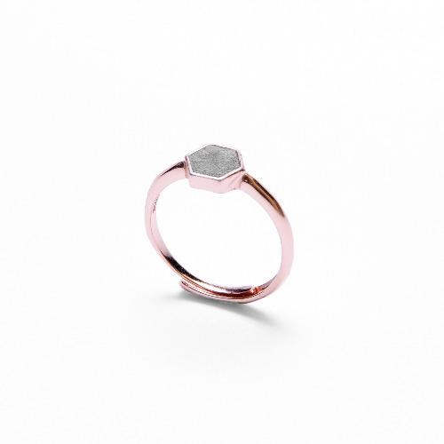 灰水泥六角形銀指環/戒指(玫瑰金) - 幾何系列