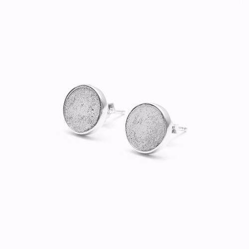 灰水泥圓形銀耳環(銀) - 幾何系列