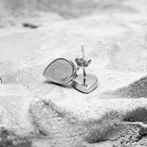 灰水泥水滴銀耳環(銀) - 幾何系列