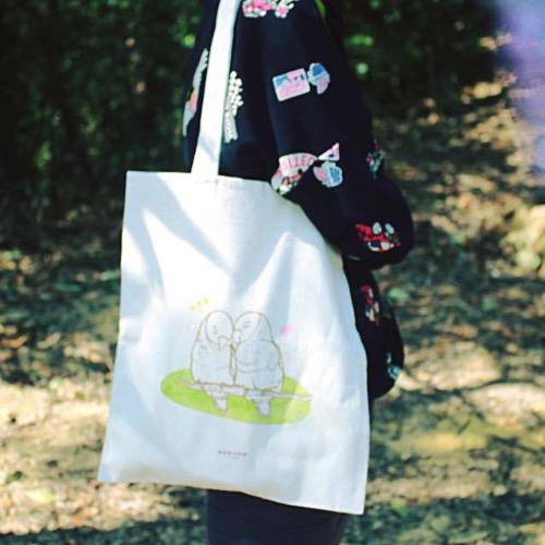【動物系列】#4 櫻花樹下的鸚鵡 帆布袋
