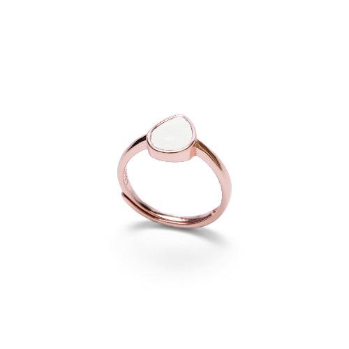 白水泥水滴形銀指環/戒指(玫瑰金) - 幾何系列