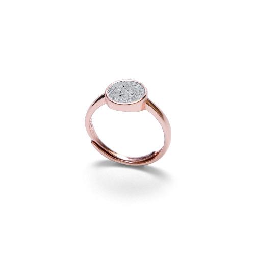 灰水泥圓形銀指環/戒指(玫瑰金) - 幾何系列