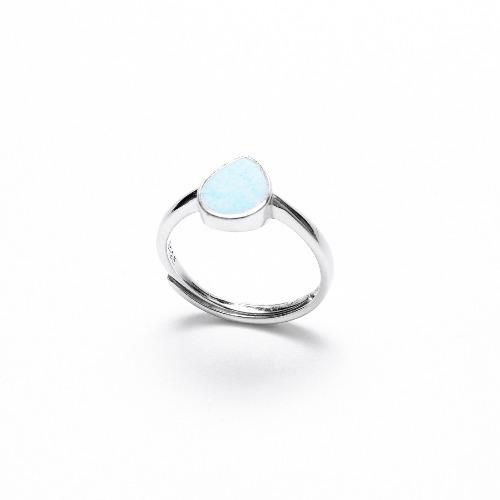 藍水泥水滴銀指環/戒指 - 幾何系列