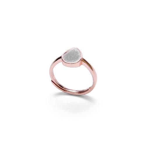 灰水泥水滴形銀指環/戒指(玫瑰金) - 幾何系列