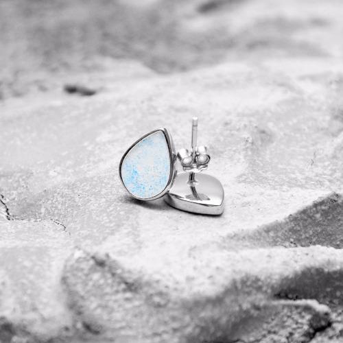 湖藍水泥水滴銀耳環(銀) - 幾何系列