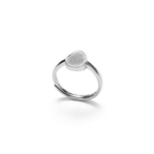 灰水泥水滴形銀指環/戒指(銀) - 幾何系列