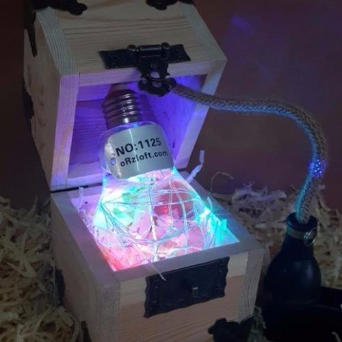 ●水火同源 液態燈泡 【聖誕特仕版-七彩閃爍】原創手工打造燈泡及木盒 USB供電小夜燈 聖誕禮物 / 交換禮物