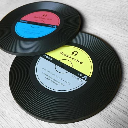 黑膠唱片造型杯墊/杯蓋一組(兩入) 耶誕 交換禮物 聖誕 生日