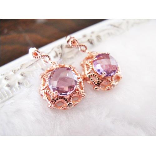 天然紫水晶玫瑰金耳環