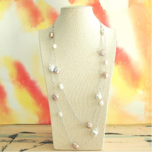不規則淡水珍珠【流星設計】頸鏈 - 一物多用