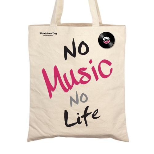 經典音樂 no Music no Life 帆布手提袋/肩背袋 (附金屬黑膠徽章)