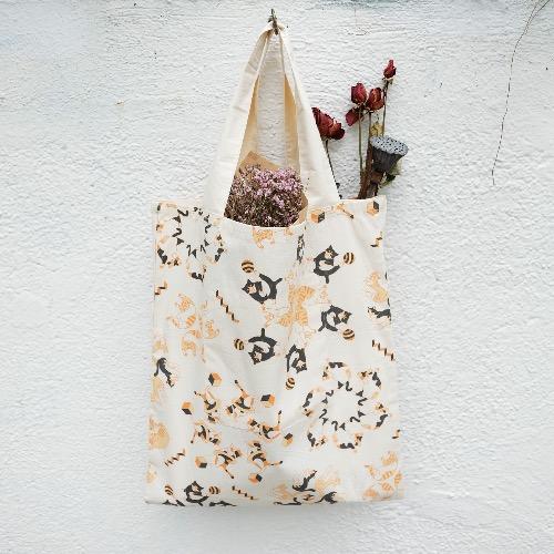 肥貓 萬花筒圖案 三層環保袋 手提包 單肩包