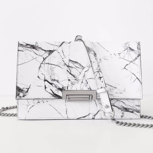 White marble chain bag