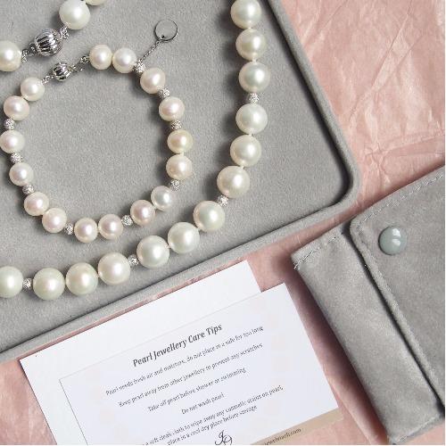 經典天然白【圓形珍珠】純銀項鍊手鍊套裝 | 婚嫁 . 姐妹 . 伴娘