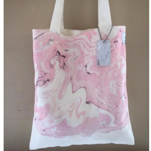 Baby Pink marble canvas bag