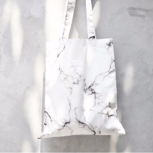 White marble canvas bag