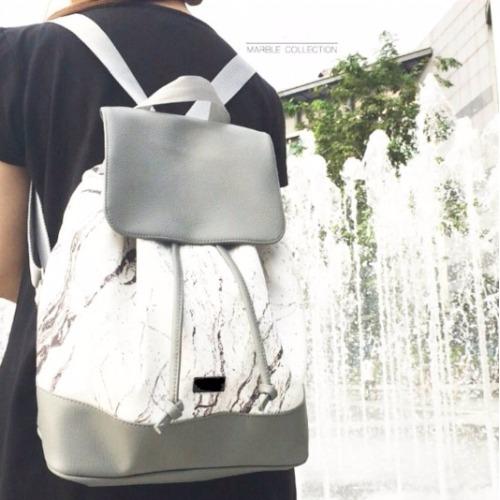 White-Gray marble backpack bag
