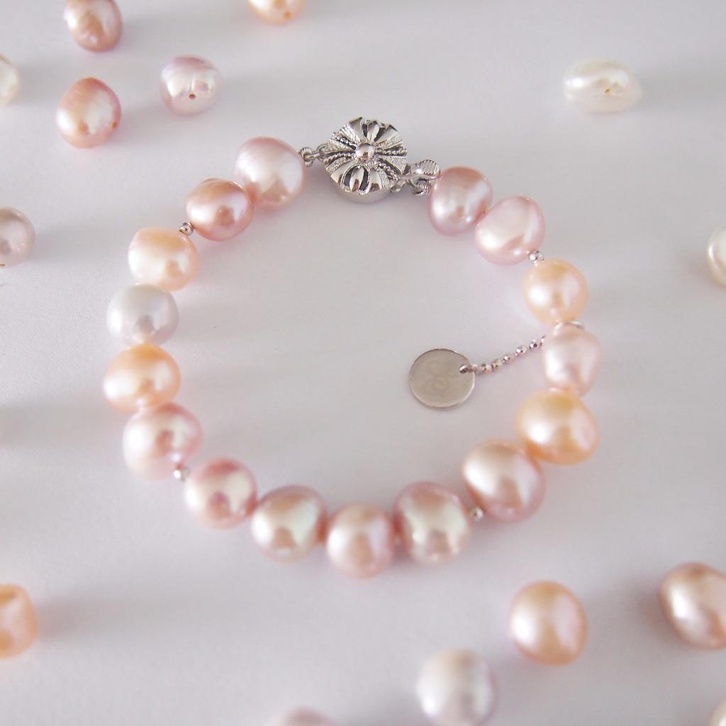 優雅感純銀 粉色調【 個性珍珠 】手鍊