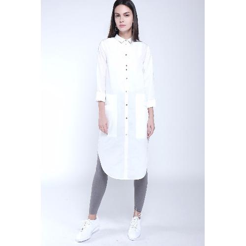 簡約現代風格白色長襯衫裙 / 天然植物纖維製成