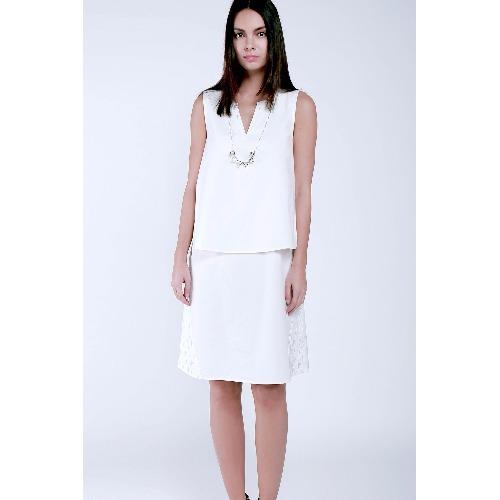 白色分層連身裙