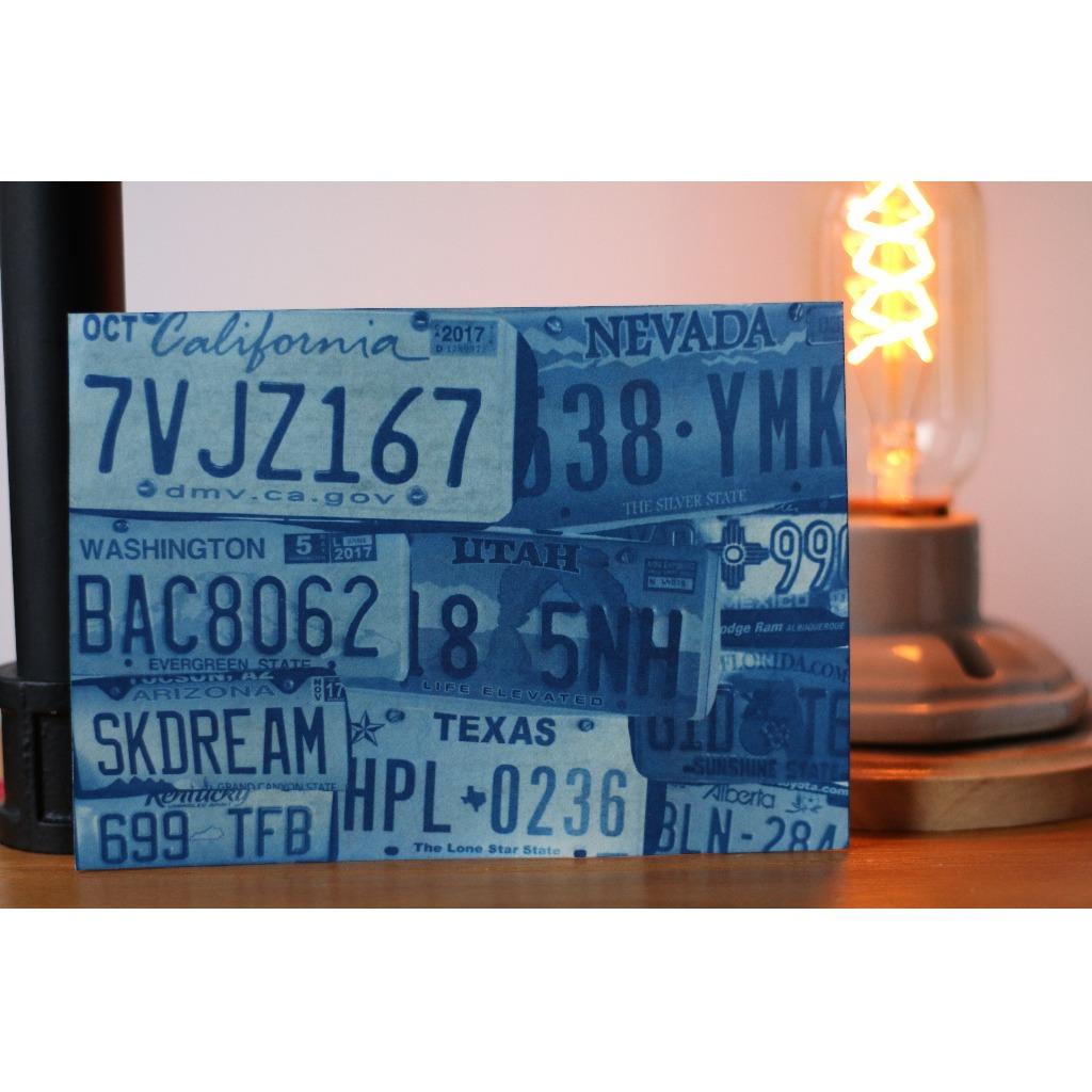 藍曬 旅遊風景 明信片 復古美國車牌 可訂制