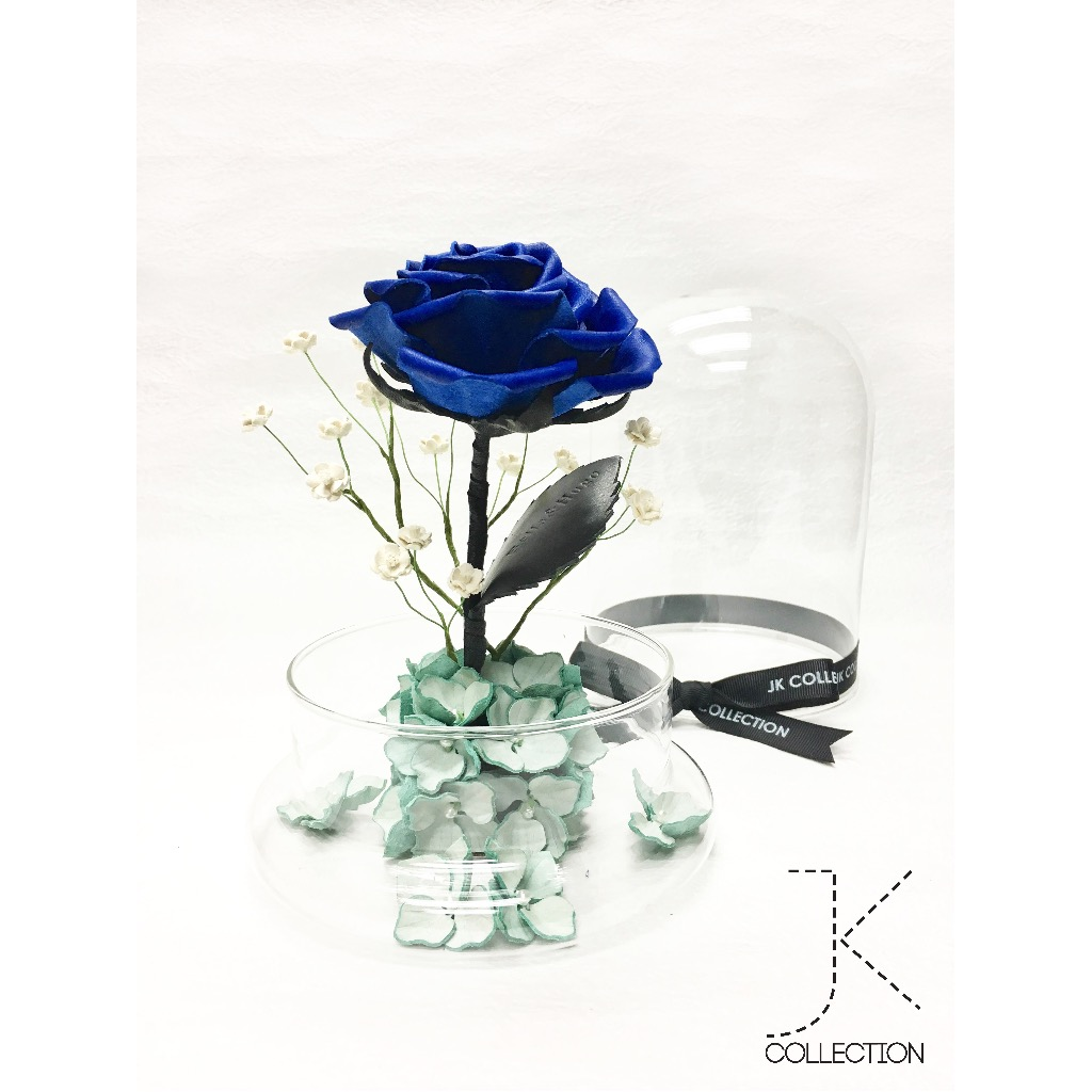 彩藍色皮革薔薇玻璃瓶