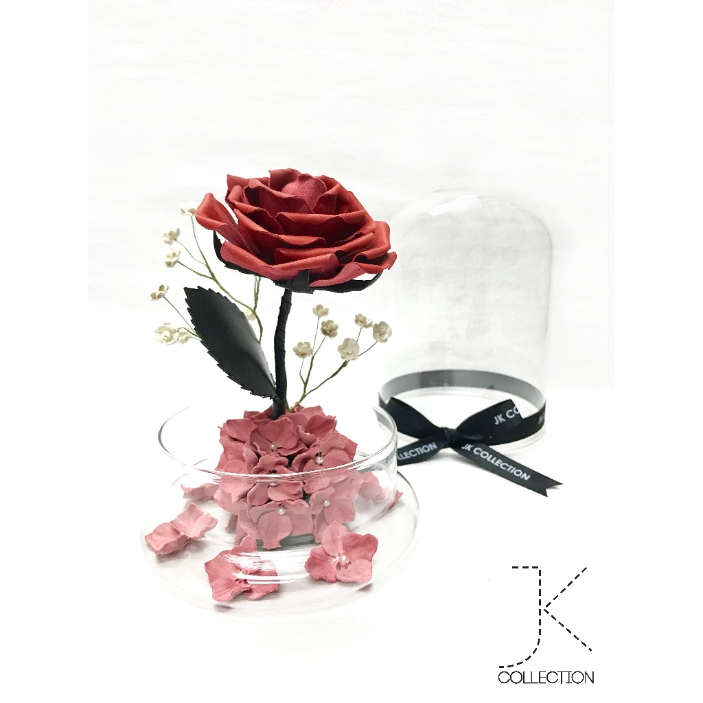 紅色皮革薔薇玻璃瓶