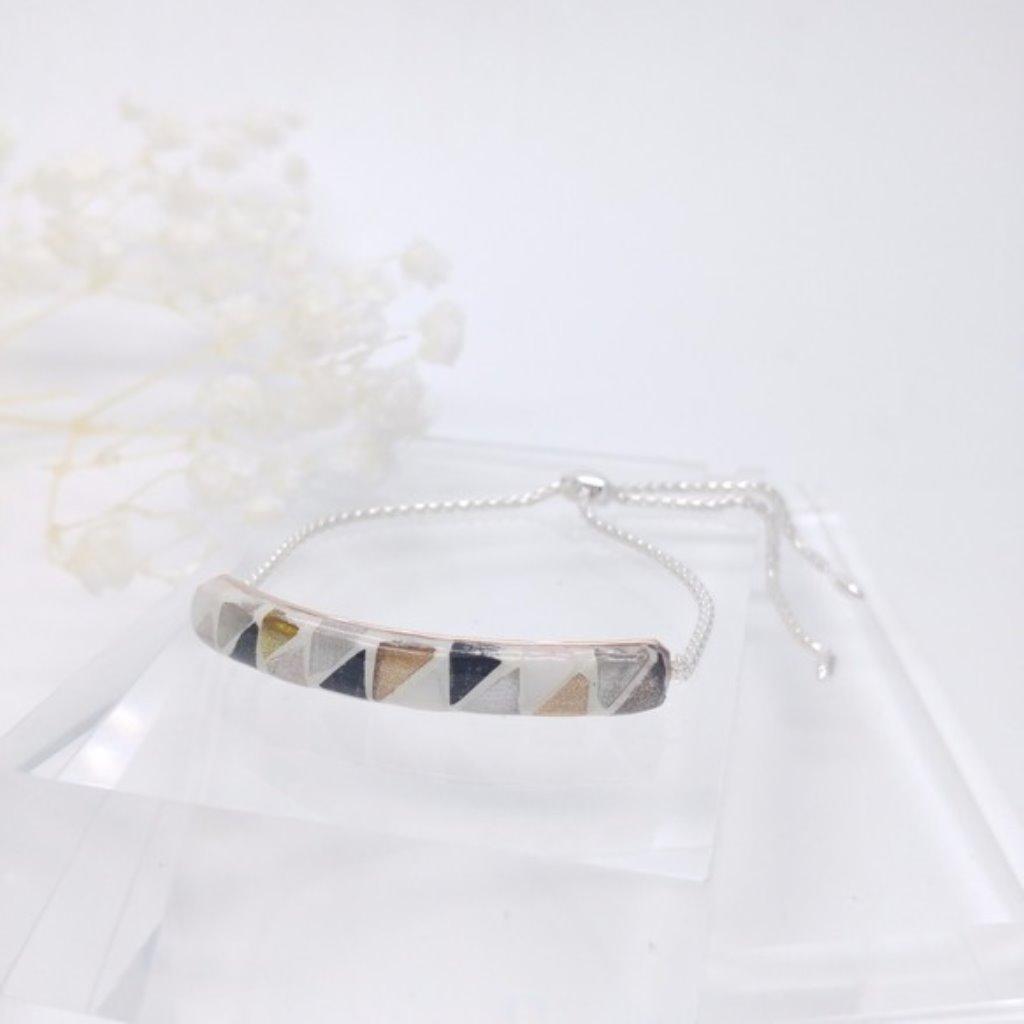 馬賽克925純銀球形滑扣手鏈 (金屬色)