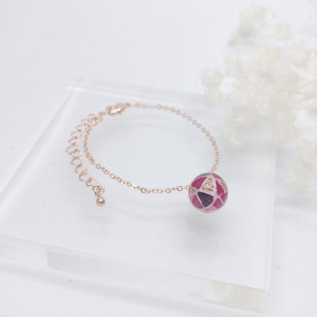 玻璃彩繪 鍍16K玫瑰金手鏈 (淺紫&桃紅)