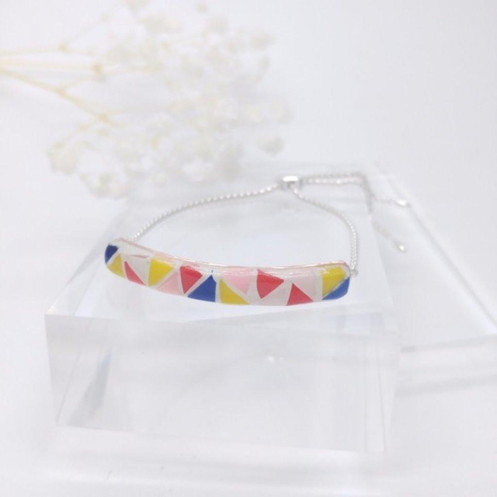 馬賽克925純銀球形滑扣手鏈 (粉紅及藍)