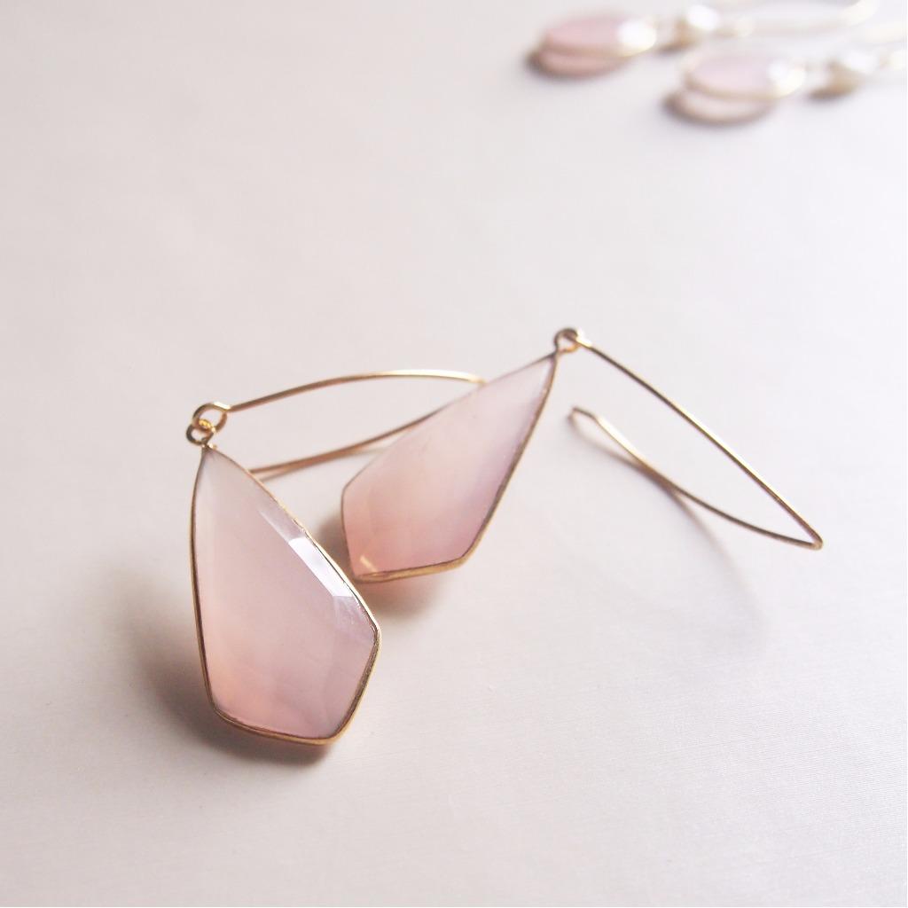 獨特天然粉晶【愛戀之石】耳環 | 18K鍍純銀