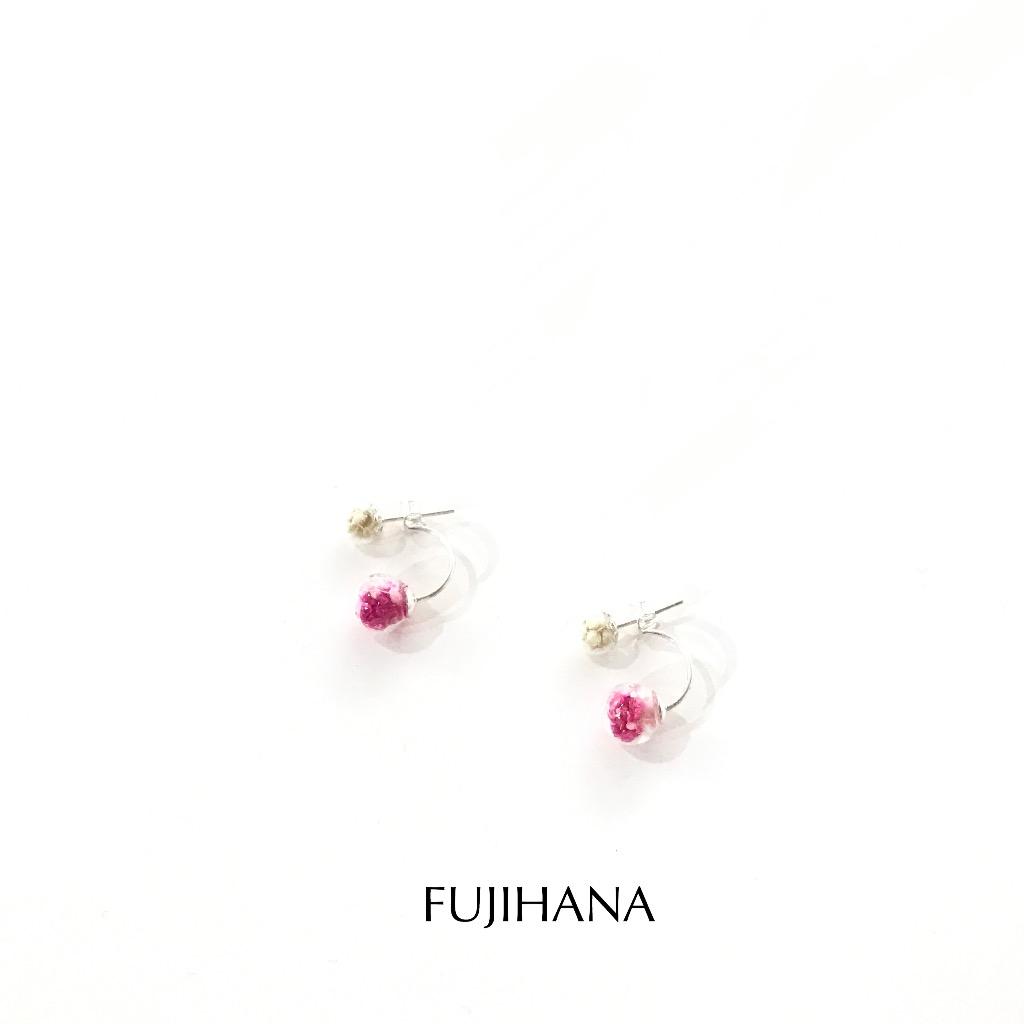 1/2+1/2 Moon Style 925SterlingSliver Earrings月亮雙花球純銀耳環
