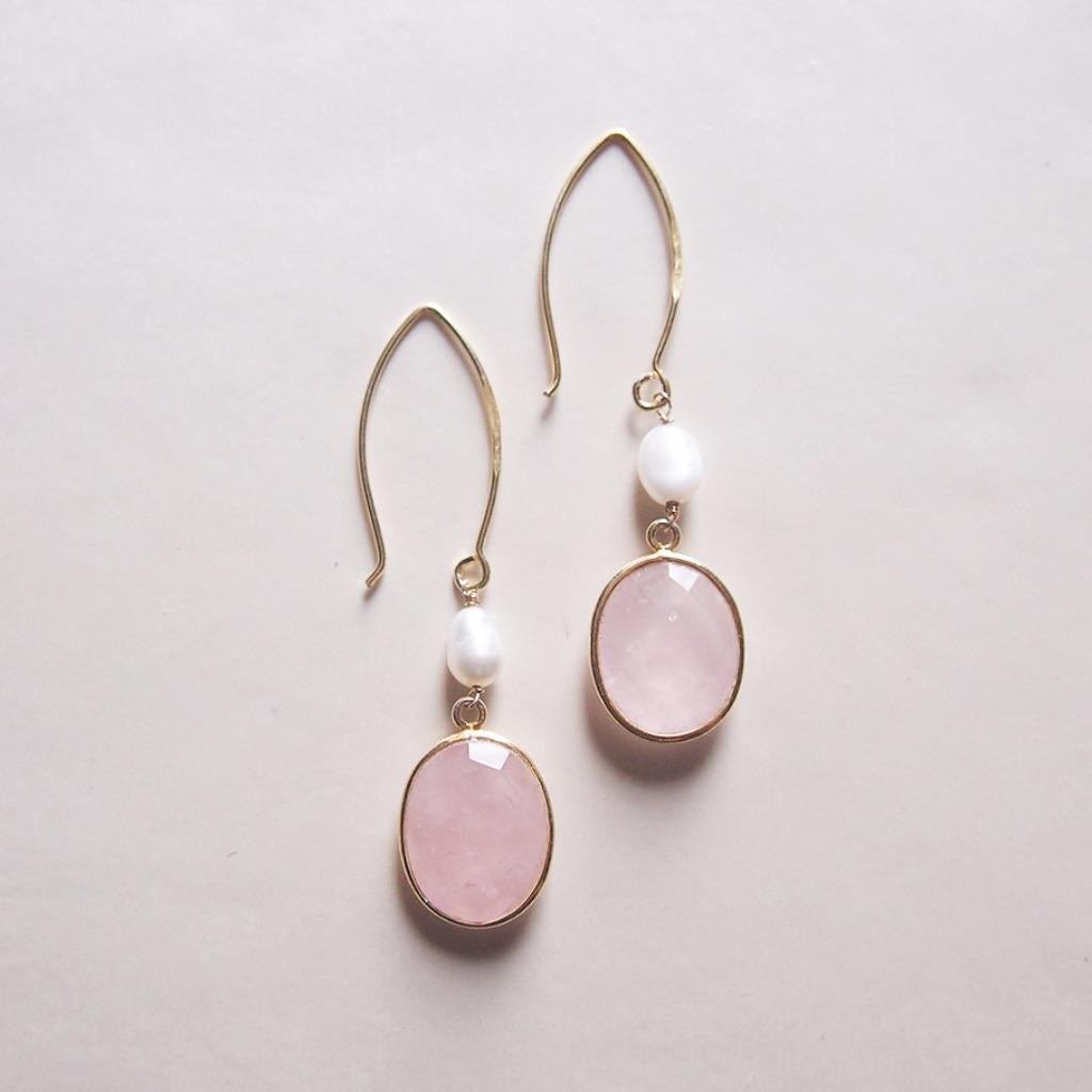 天然粉晶【愛戀之石】小珍珠耳環 | 18K鍍純銀