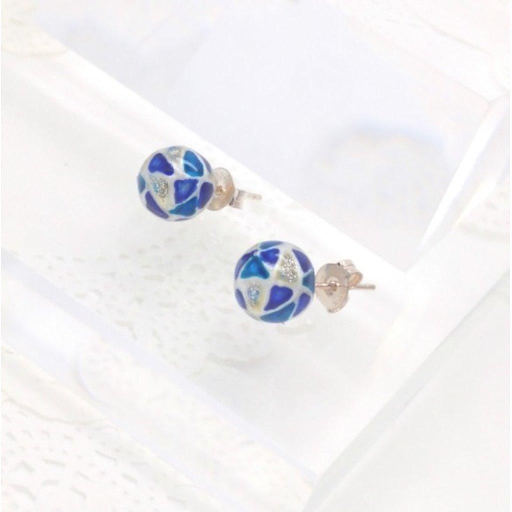 玻璃彩繪925純銀耳環 (藍色)