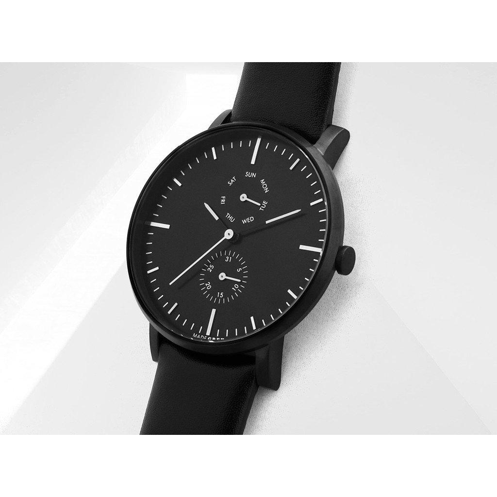 黑色 MG002 手錶 | 真皮皮帶