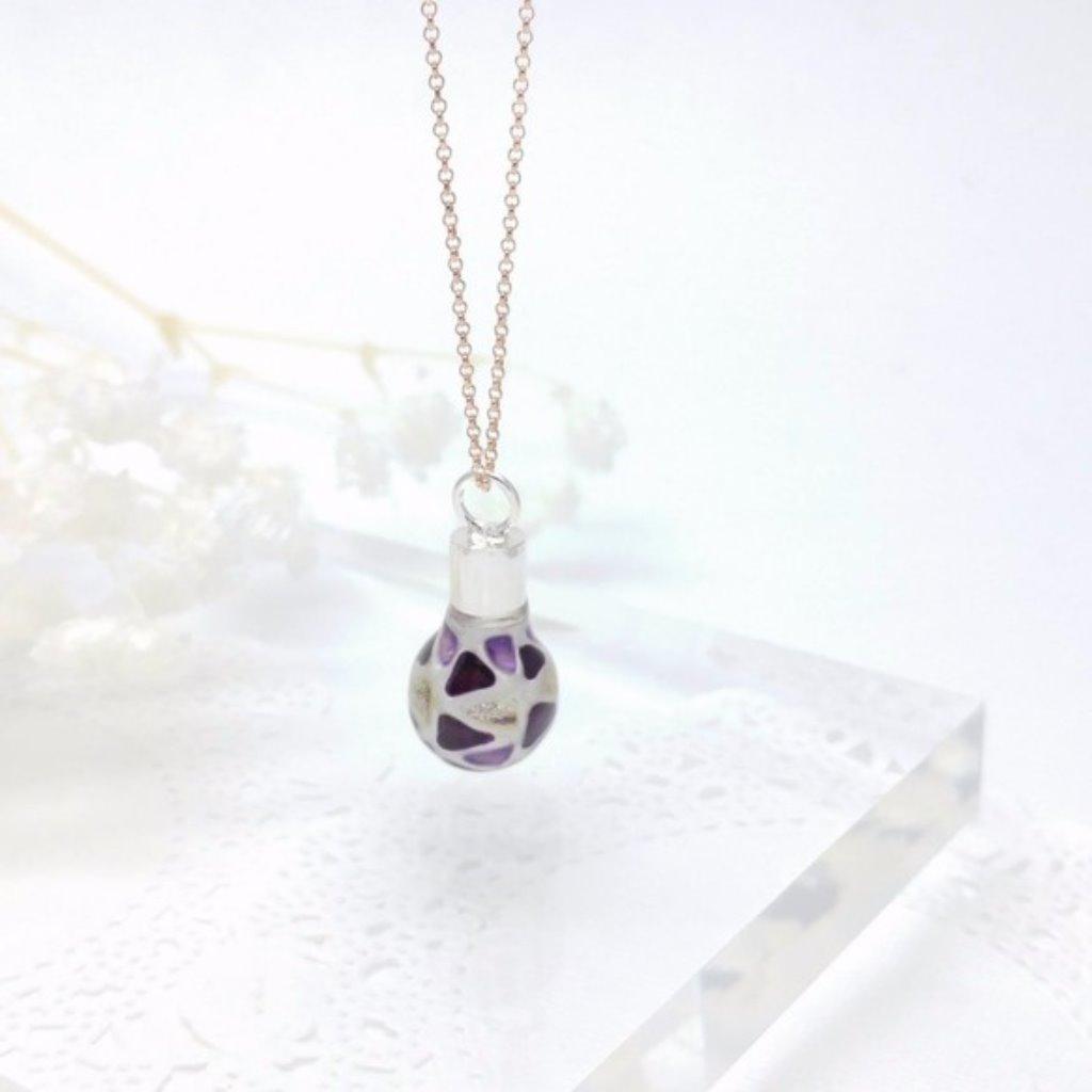 玻璃彩繪迷你燈泡 925純銀項鍊 (紫色)