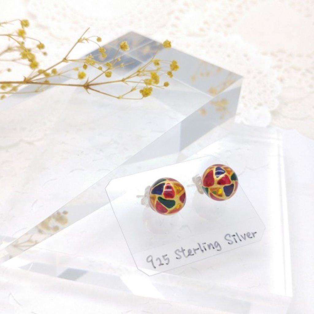 玻璃彩繪925純銀耳環 (金色)